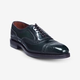 Strand Shell Cordovan Cap-Toe Oxford, 3029 Green / Brown Welt & Edge, blockout