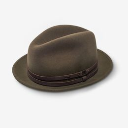 Allen Street Snap Brim Wool Fedora Hat by Bailey, 1016490 Olive, blockout