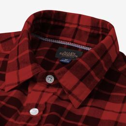 Plaid Cotton Work Shirt, 1016551 Red and Black, blockout