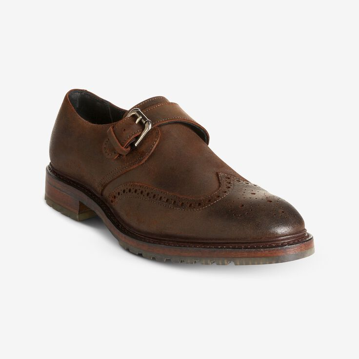 Joseph Abboud - Louisburg Waxed Suede Single Monk Strap, 3138 Brown Waxed Suede, blockout