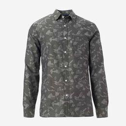 Herringbone Cotton Sport Shirt, 1016548 Camo, blockout