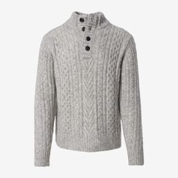 Fisherman Mock Neck Sweater, 1018551 Cloud, blockout