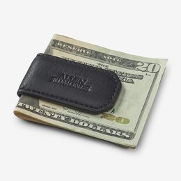 Leather Money Clip, 1017428 Black Pebble Grain, blockout