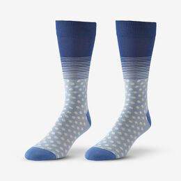 Cotton Blend Pattern Dress Sock, 1017539 Blue Dot & Stripe, blockout
