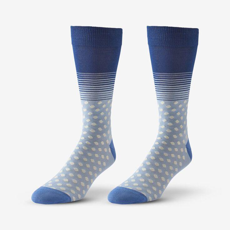 Cotton Blend Pattern Dress Sock, 1017539 Blue Dot & Stripe, blockout