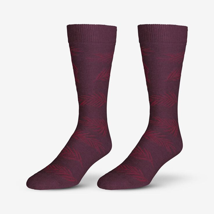 Cotton Blend Pattern Dress Sock, 1017536 Burgundy Palm Leaf, blockout