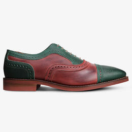 Holly Mok Wingtip Oxfords, 4694 Green & Red Distressed Leather, blockout