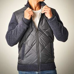Magnus Quilted Zip Up Jacket, 1018410 Navy, blockout