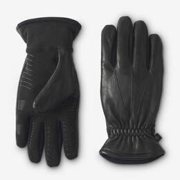 Stretch Palm Leather Tech Gloves, 1016364 Black, blockout
