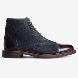 Landon Wool Cap-Toe Boot, 3740 Charcoal Wool/Mahogany Leather, blockout