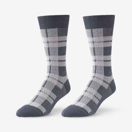 Mid-Calf Pattern Knit Dress Sock, 1016435 Grey Buffalo Plaid, blockout
