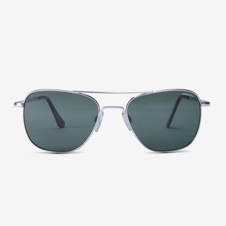 Aviator 55MM Matte Chrome AGX Glass Sunglasses by Randolph Engineering, 1015121 Chrome, blockout