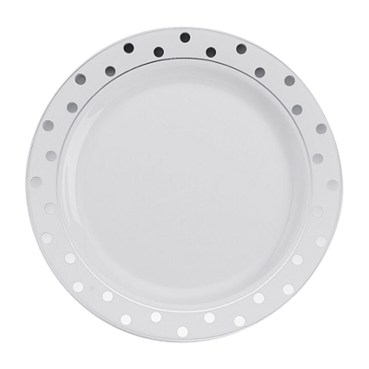 White and Silver Polka-Dot Plates