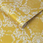 Geo Damask Yellow Wallpaper