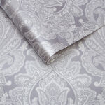 Souk Damask Pewter Wallpaper