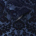 Gothic Damask Flock Cobalt Wallpaper