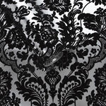 Gothic Damask Flock Black & Silver Wallpaper