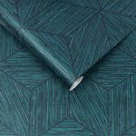 Grasscloth Geo Teal Wallpaper