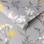 Aeris Grey & Yellow Wallpaper