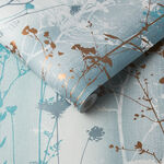 Wild Flower Teal Wallpaper