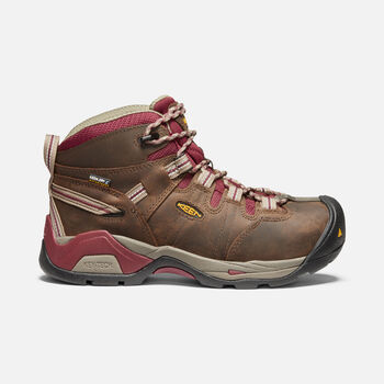 Women's Detroit XT Waterproof Boot (Steel Toe) in BLACK OLIVE/TAWNY RED - large view.