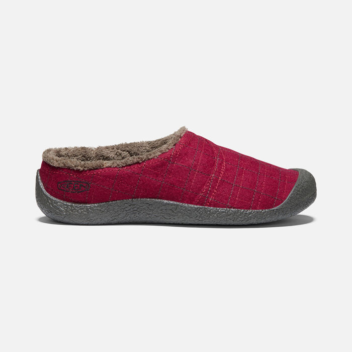 Women's Howser Wrap Slide in Red Felt/Plaid - large view.