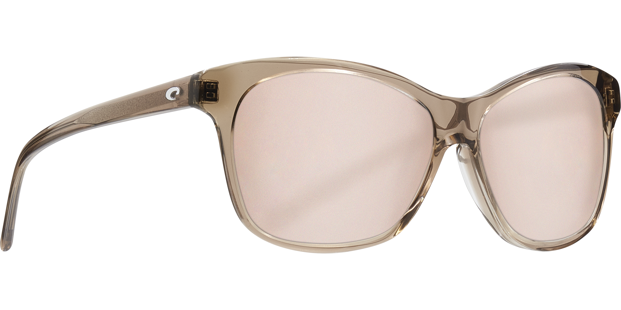 Del Mar Collection - Sarasota Polarized Sunglasses - Shiny Taupe Crystal - Polarized 580 Copper Silver Mirror Lenses