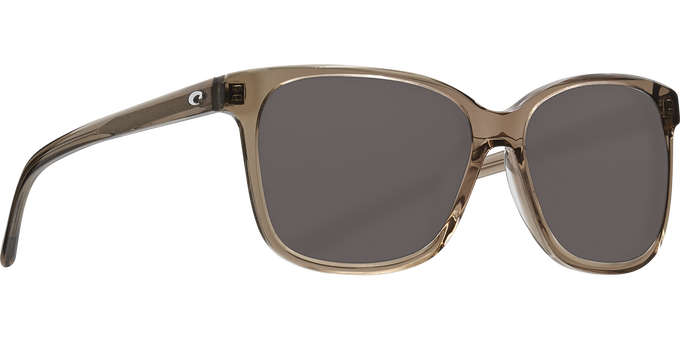 Del Mar Collection - May Polarized Sunglasses - Shiny Taupe Crystal - Polarized 580 Gray Lenses