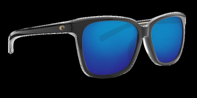 Del Mar Collection - May Polarized Sunglasses - Shiny Black - Polarized 580 Blue Mirror Lenses