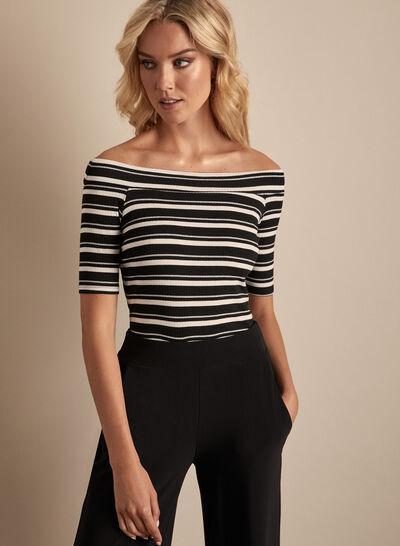 Stripe Print Off-The-Shoulder Top