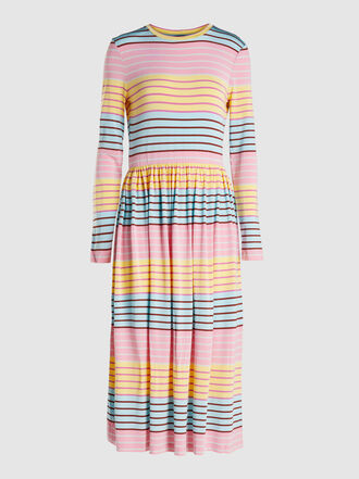 Stine Goya - Joel Striped Crew Neck Stretch-Jersey Midi Dress