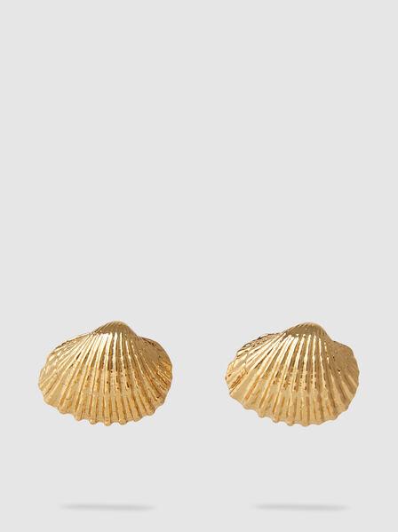 Tohum - Large Beach Shell Gold-Tone Brass Earrings