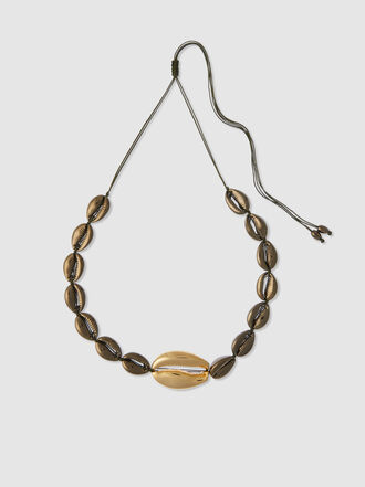 Tohum - Large Puka Khaki And Gold-Tone Brass Necklace