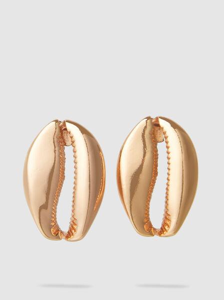 Tohum - Mega Puka Shell Rose Gold-Tone Brass Earrings