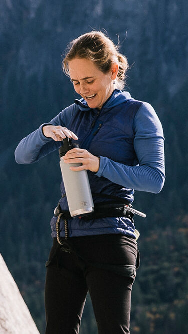 YETI Ambassador Beth Rodden taking a water break