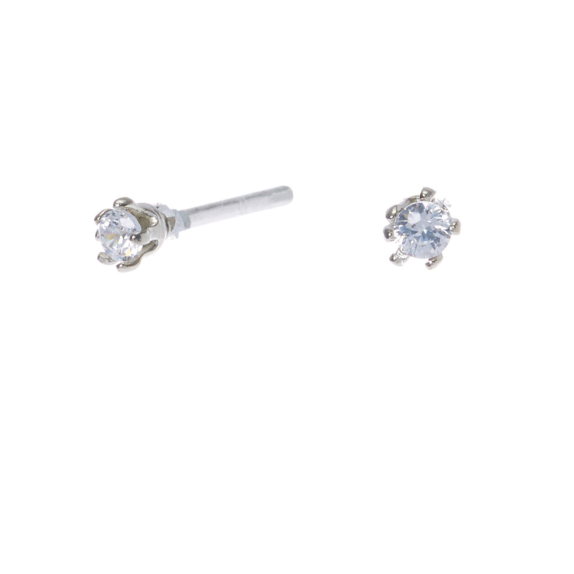 Silver Cubic Zirconia Round Stud Earrings - 2MM