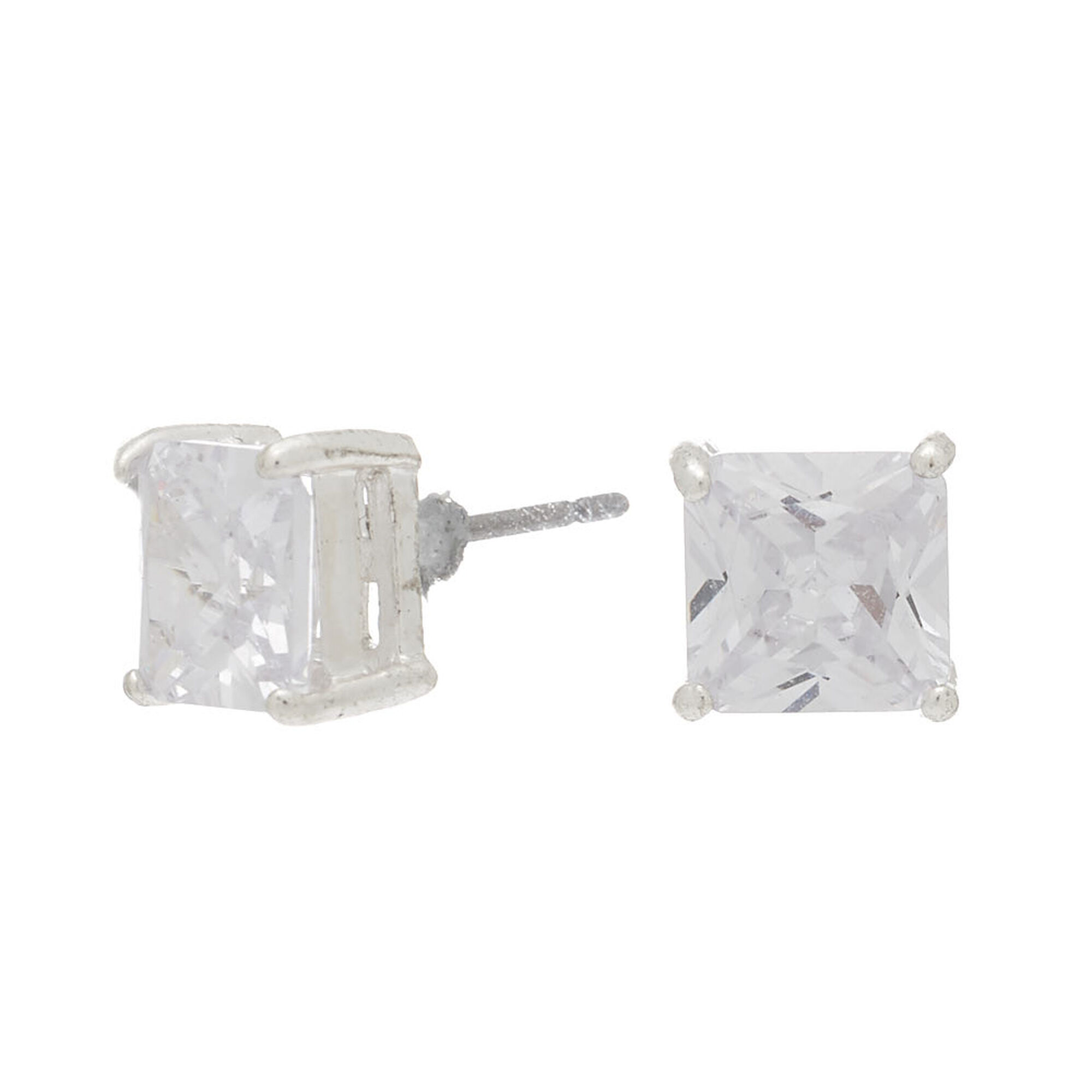 Silver Cubic Zirconia Square Stud Earrings - 7MM