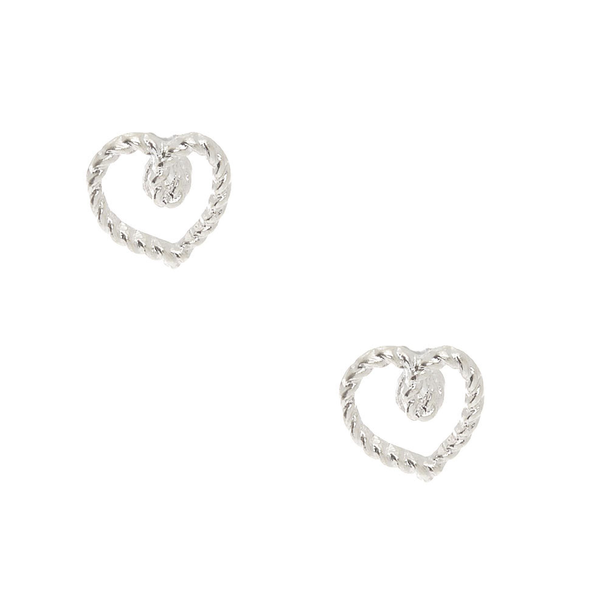 Silver Rope Heart Stud Earrings