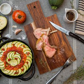 Rack of lamb with Provençal-style vegetable bake null