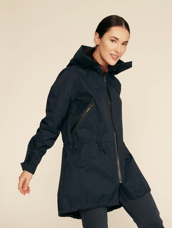 Long, contemporary fishtail parka