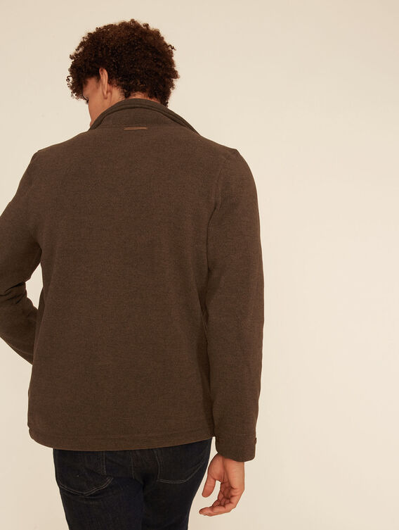 Knit effect fleece jacket