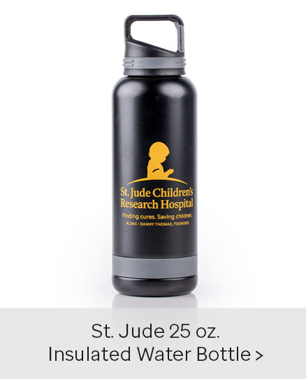 Click here to purchase the St. Jude Black & Gold 25 oz. Insulated Water Bottle with Carabiner Clip