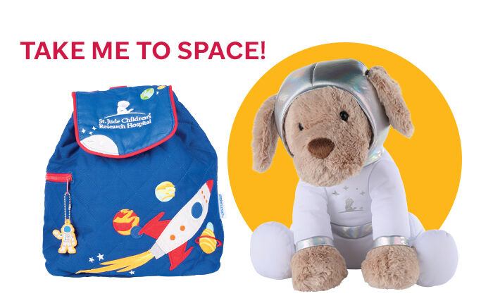 Take me to space. Rocket ship backpack and space dog plush