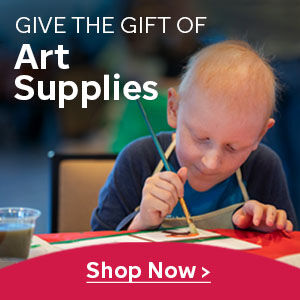 Shop now to give the gift of art supplies with an image of Colton painting