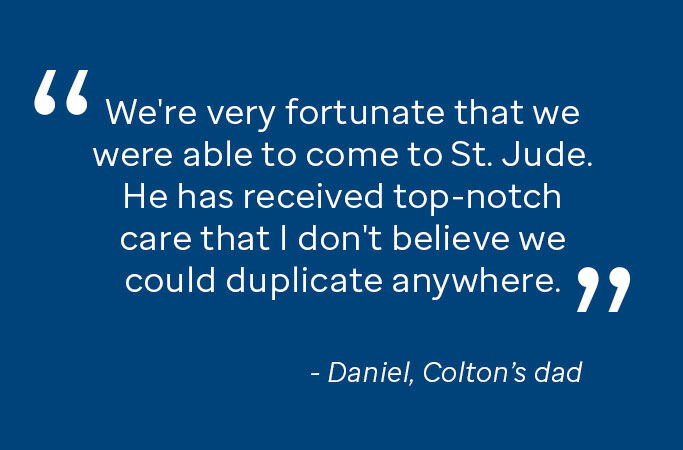 quote from Daniel, Colton's dad: