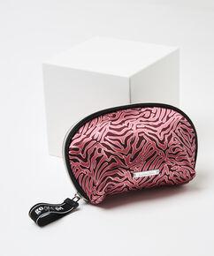 Make-up tas satin Zebra, Rood