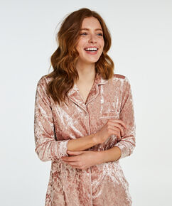Boyfriend crushed velour pyjama, Roze