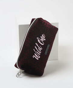 Make-up tas velour  Wild One, Rood