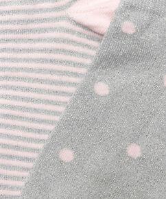 2 paar lurex sokken stippen, Grijs