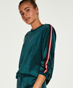 Top Velours Stripe, Groen
